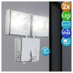 etc-shop LED Wandstrahler, 2er Set Outdoor LED Garten Haus Wand Strahler Bewegungsmelder Batteriebetrieb