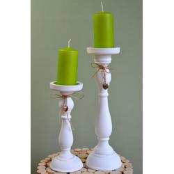 elbmöbel Kerzenständer Kerzenständer SET 2 Tlg, Kerzenständer SET weiß 12x37x12 und 11x27x11 cm Stumpenkerzenhalter weiß