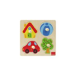 Goula Steckpuzzle GOULA Holzpuzzle- 4 Teile- Zu Hause, Puzzleteile