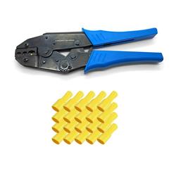 ARLI Crimpzange ARLI Handcrimpzange 0,5 - 6 mm² - Crimpzange Presszangen Zange + 100 x Flachsteckhülsen 4 - 6 mm² gelb 6,3 x 0,8 mm
