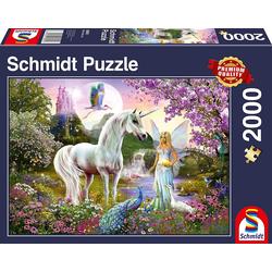 Schmidt Spiele Puzzle Schmidt 58951 - Premium Quality - Fee und Einhorn, 2000 Teile Puzzle, 2000 Puzzleteile