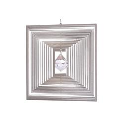 ILLUMINO Windspiel Edelstahl Windspiel Quadrat Quadro -XL mit klarer 40mm Kristalldiamant Metall Windspiel für Garten und Wohnung Gartendeko Wohn und Fenster Deko