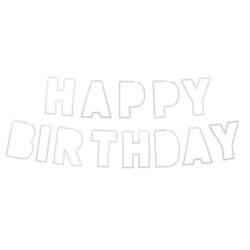 Happy Birthday Girlande Banner Geburtstag Kindergeburtstag Party Feier Deko mit Glitzereffekt - silber