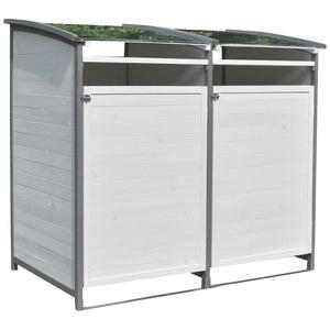 Mucola Mülltonnenbox Mülltonnenbox Doppelbox für 2 Tonnen Mülltonnenverkleidung Mülltonne 240L Gartenbox Anbaubox Holz Anbau Deckel Grau Braun Weiß Zinkdach, mit Deckel grau