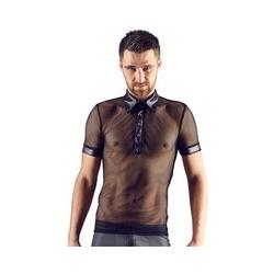 Hemd aus Netz und Wetlook, mit Polokragen