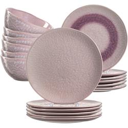 LEONARDO Geschirr-Set Matera, (Set, 18 tlg.), rustikaler Look rosa Geschirr-Sets Geschirr, Porzellan Tischaccessoires Haushaltswaren