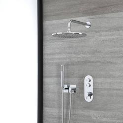 Duschsystem mit Thermostat, 30cm rundem Duschkopf und Handbrauseset – Chrom – Idro, von Hudson Reed