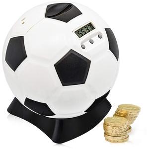MOMMED Digital Counting spardose mit zähler, Fußball Sparschwein, Sparschwein groß für Kinder, Früherziehung, Spardose groß mit automatischem LCD-Display, Balck, Weiß