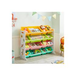 SONGMICS Bücherregal GKR070W01, Spielzeugregal, Kinderzimmerregal, 106 x 26,5 x 78 cm (L x B x H), farbig