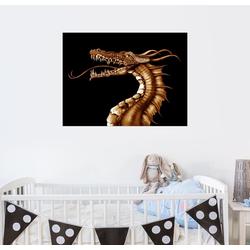 Posterlounge Wandbild, güldener Drache 90 cm x 70 cm