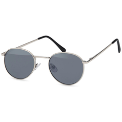 styleBREAKER Sonnenbrille Sonnenbrille Pantobrille rund Getönt silberfarben