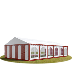 Toolport Partyzelt 6x12m PVC 500 g/m² rot wasserdicht Gartenzelt, Festzelt, Pavillon