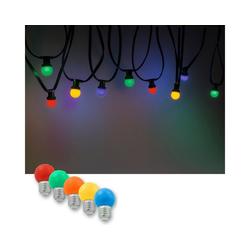 SATISFIRE LED-Lichterkette Illu-/Partylichterkette 10m Außenlichterkette, 10 x bunte LED Lampe - SOMMERDEAL