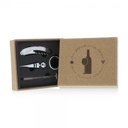 Lasergravierte Korkbox mit 4-teiligem Weinset