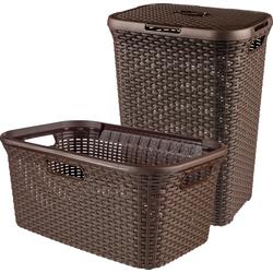 Curver Wäschekorb Style (Set, 2 Stück), und Wäschewanne dunkelbraun