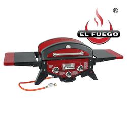 El Fuego Gasgrill, mit Thermometer, Tischgasgrill BBQ Grill mit 2 Brenner + 1 Smokerbrenner