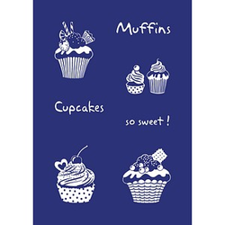 Rayher Siebdruckschablone Cupcakes blau