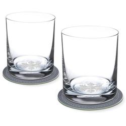 Contento Whiskyglas (2-tlg), Eiskristall, 400 ml, inkl. 2 Untersetzern
