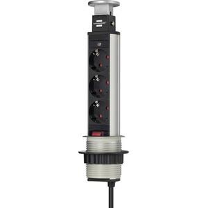 Brennenstuhl 1396200003 Steckdosenturm 3fach Aluminium, Schwarz Schutzkontakt 1St.