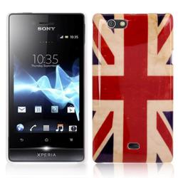 Hard Case Hülle Retro Fahne für Handy Sony Xperia miro ST23i