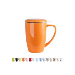 LOVECASA Tasse (1-tlg), Porzellan, Teebecher Kaffeebecher aus Porzellan orange