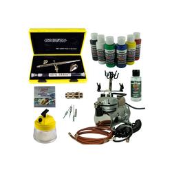 Airbrush-City Druckluftwerkzeug Nail-Art Airbrush Set - Evolution Silverline Two in One + Saturn 25 Kompressor - Kit 9101, (1-St)