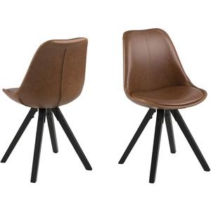 Eine Marke von Amazon - Movian Arendsee - Set aus 2 Esszimmerstühlen, 55 x 48,5 x 85 cm, Braunes PU-Leder, schwarz lackierte Beine aus Kautschukholz