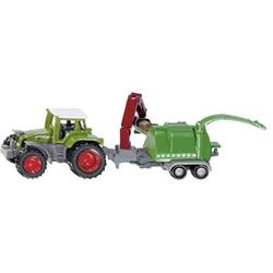 SIKU Spielwaren Traktor mit Holzhäcksler