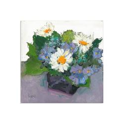 Artland Glasbild Gepflanzte Blume II, Blumen (1 Stück) 40 cm x 40 cm x 1,1 cm