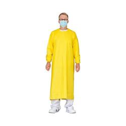 emissimo Mehrweg Schutzkittel MSK135CG m.CHIP,Bindebänder,Gummibündchen,gelb,135x135 (Klinik Var.)