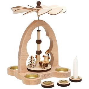 SIGRO Weihnachtsfigur Holz Teelicht-Tischpyramide bunt