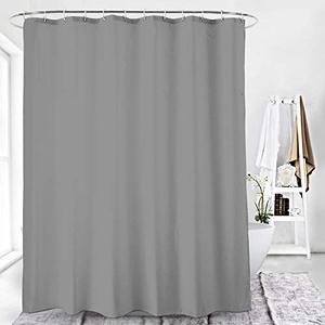 Duschvorhang Textil Badewannenvorhang 120/180 / 240 x 200 cm inkl Ringe (120x200cm, Grau)