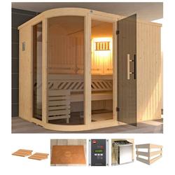 weka Sauna Sara 2, BxTxH: 244 x 194 x 199 cm, 68 mm, 9 kW Ofen mit ext. Steuerung