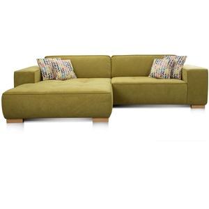 """Cavadore Ecksofa """"Zappo"""" mit Federkern und XXL Longchair / XXL Sofa L-Form mit tiefen Sitzflächen / Modernes Design / 293 x 78 x 172 cm / Grün"""