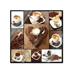 Bilderdepot24 Glasbild, Glasbild - Kaffee Collage 30 cm x 30 cm