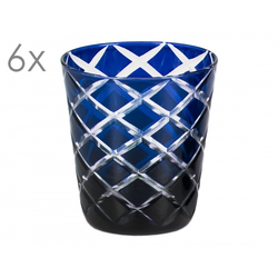 6er Set Kristallgläser Dio, blau, handgeschliffenes Glas , Höhe 10 cm, Füllmenge 0,23 Liter