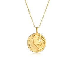 Elli Kette mit Anhänger Weltkugel Globus Münze Coin 925 Silber, Weltkugel goldfarben