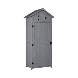 Armoire abri de jardin remise pour outils 3 étagères 2 porte loquets toit pente bitumé 77L x 54l x