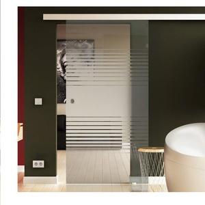 Glas Schiebetür 205x77,5 cm Dessin. Lamelle (L) Levidor® EasySlide-System komplett Laufschiene und Muschelgriffe Schiebetür aus Glas für Innenbereich  ESG-Sicherheitsglas