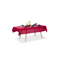 relaxdays Tischdecke Tischdecke wasserabweisend in 3 Farben rot 140 cm x 220 cm x 1 mm