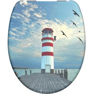 WC-Sitz - Toilettendeckel | Klodeckel mit Absenkautomatik | Duroplast | Toilettensitz mit Muster (Lighthouse)
