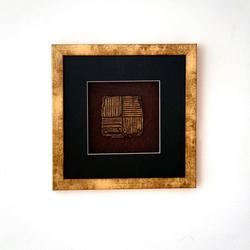 Wandbild Micado 2 Holz-Glas-Kunststein Gold-Schwarz