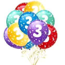 Luftballon Set Zahl 3 für 3. Geburtstag Kindergeburtstag Party 10 Deko Ballons Geburtstagsdeko bunt