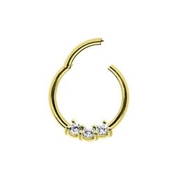 Adelia´s Nasenpiercing Piercing Ring Smooth Segment Clicker mit Stein, Gold, mit drei klaren gefassten Kristallen in 2 mm