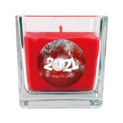 HS Candle Duftkerze (1-tlg), Frohes Neues Jahr - Kerze im Glas, Kerze mit Neujahr - Motiv, vers. Düfte / Größen rot 8 cm x 8 cm x 8 cm
