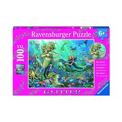 Ravensburger Puzzle Glitter-Puzzle Unterwasserschönheiten, 100 Teile, Puzzleteile