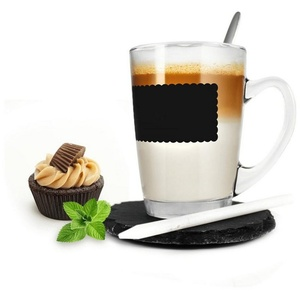 Sendez Latte-Macchiato-Glas Kaffeeglas 4tlg mit Löffel und Teller Teeglas Tasse Becher Latte Macchiato Glas, Glas