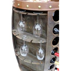 DanDiBo Weinregal Weinregal Weinfass Holz 0416 Bar Flaschenständer 84 cm für 42 Fl. Regal Fass Holzfass Minibar braun