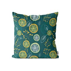 Kissenbezug, VOID (1 Stück), Zitronenblätter Früchte Kissenbezug Lemon Lime Zitrone Limette Vitamine Saft 50 cm x 50 cm