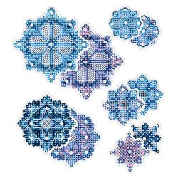"""Stramin-Aufhänger """"Eiskristalle"""", 5er Set"""
